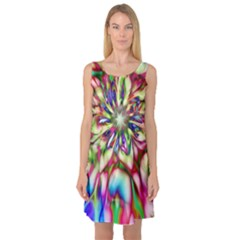 Magic Fractal Flower Multicolored Sleeveless Satin Nightdress