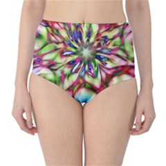 Magic Fractal Flower Multicolored High-Waist Bikini Bottoms