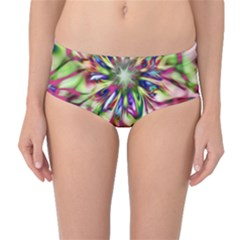 Magic Fractal Flower Multicolored Mid-Waist Bikini Bottoms