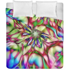Magic Fractal Flower Multicolored Duvet Cover Double Side (California King Size)