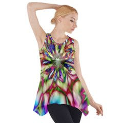 Magic Fractal Flower Multicolored Side Drop Tank Tunic