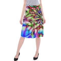 Magic Fractal Flower Multicolored Midi Beach Skirt