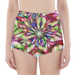 Magic Fractal Flower Multicolored High-Waisted Bikini Bottoms