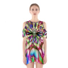 Magic Fractal Flower Multicolored Shoulder Cutout One Piece