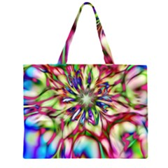 Magic Fractal Flower Multicolored Large Tote Bag