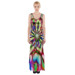 Magic Fractal Flower Multicolored Maxi Thigh Split Dress