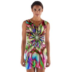 Magic Fractal Flower Multicolored Wrap Front Bodycon Dress