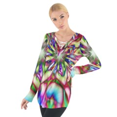 Magic Fractal Flower Multicolored Women s Tie Up Tee