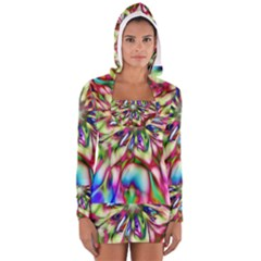 Magic Fractal Flower Multicolored Women s Long Sleeve Hooded T-shirt