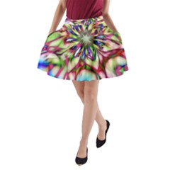 Magic Fractal Flower Multicolored A-Line Pocket Skirt