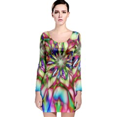 Magic Fractal Flower Multicolored Long Sleeve Velvet Bodycon Dress