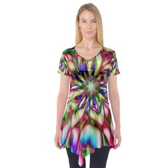 Magic Fractal Flower Multicolored Short Sleeve Tunic