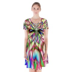 Magic Fractal Flower Multicolored Short Sleeve V-neck Flare Dress
