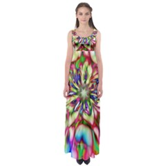 Magic Fractal Flower Multicolored Empire Waist Maxi Dress