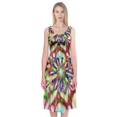 Magic Fractal Flower Multicolored Midi Sleeveless Dress