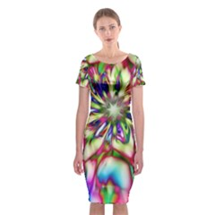 Magic Fractal Flower Multicolored Classic Short Sleeve Midi Dress