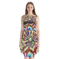 Magic Fractal Flower Multicolored Sleeveless Chiffon Dress