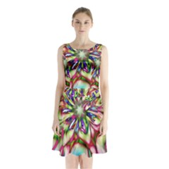 Magic Fractal Flower Multicolored Sleeveless Chiffon Waist Tie Dress