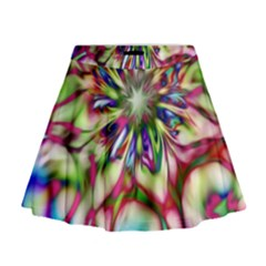Magic Fractal Flower Multicolored Mini Flare Skirt