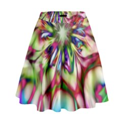 Magic Fractal Flower Multicolored High Waist Skirt