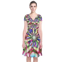 Magic Fractal Flower Multicolored Short Sleeve Front Wrap Dress