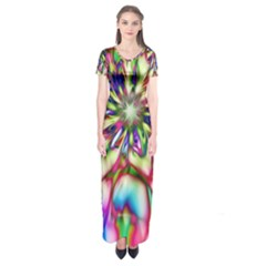 Magic Fractal Flower Multicolored Short Sleeve Maxi Dress