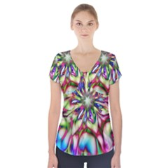 Magic Fractal Flower Multicolored Short Sleeve Front Detail Top