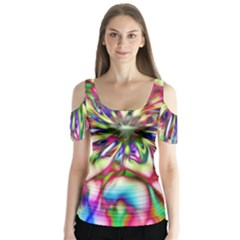 Magic Fractal Flower Multicolored Butterfly Sleeve Cutout Tee