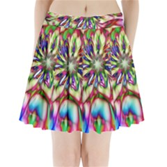 Magic Fractal Flower Multicolored Pleated Mini Skirt