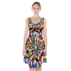 Magic Fractal Flower Multicolored Racerback Midi Dress