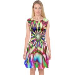 Magic Fractal Flower Multicolored Capsleeve Midi Dress