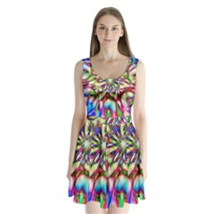 Magic Fractal Flower Multicolored Split Back Mini Dress