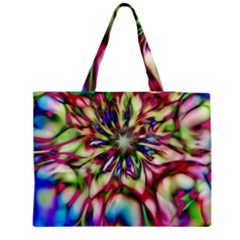 Magic Fractal Flower Multicolored Medium Tote Bag
