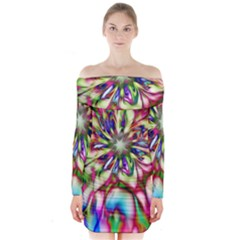 Magic Fractal Flower Multicolored Long Sleeve Off Shoulder Dress