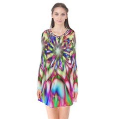 Magic Fractal Flower Multicolored Flare Dress