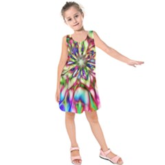 Magic Fractal Flower Multicolored Kids  Sleeveless Dress