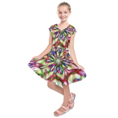 Magic Fractal Flower Multicolored Kids  Short Sleeve Dress