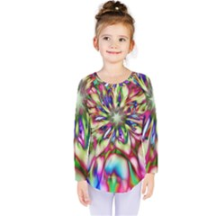 Magic Fractal Flower Multicolored Kids  Long Sleeve Tee