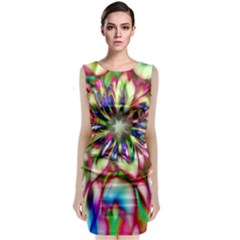 Magic Fractal Flower Multicolored Sleeveless Velvet Midi Dress