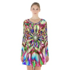 Magic Fractal Flower Multicolored Long Sleeve Velvet V Neck Dress