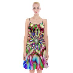 Magic Fractal Flower Multicolored Spaghetti Strap Velvet Dress