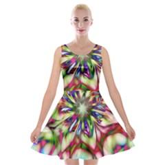 Magic Fractal Flower Multicolored Velvet Skater Dress