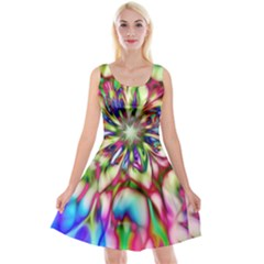 Magic Fractal Flower Multicolored Reversible Velvet Sleeveless Dress