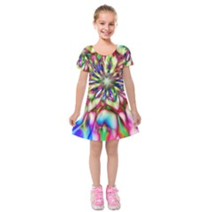 Magic Fractal Flower Multicolored Kids  Short Sleeve Velvet Dress