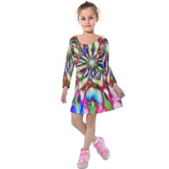 Magic Fractal Flower Multicolored Kids  Long Sleeve Velvet Dress