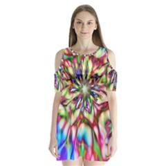 Magic Fractal Flower Multicolored Shoulder Cutout Velvet  One Piece