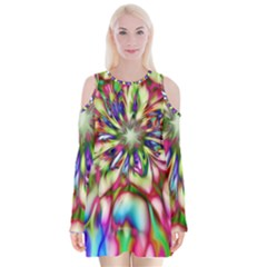 Magic Fractal Flower Multicolored Velvet Long Sleeve Shoulder Cutout Dress