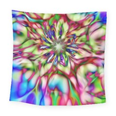 Magic Fractal Flower Multicolored Square Tapestry (large)