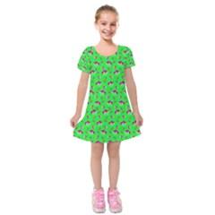 Floral pattern Kids  Short Sleeve Velvet Dress