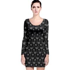 Floral pattern Long Sleeve Velvet Bodycon Dress